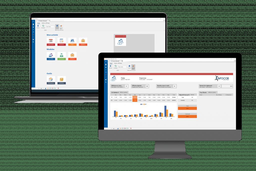 tableau de bord et écran d'accueil du logiciel CRM Infocob 20.