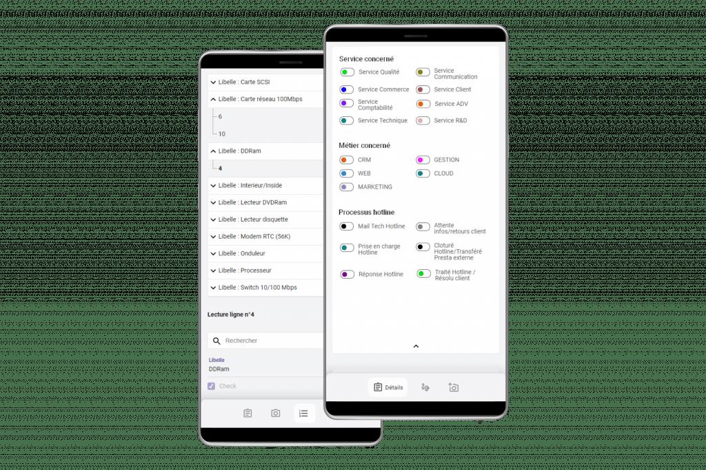 Application mobile sur mesure pour le CRM.